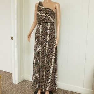Ladies python snake tessa maxi one shoulder dress